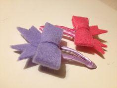 Deux barrettes clic-clac noeuds papillon rose violet : Accessoires coiffure par bellpepper