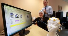 Dr Michael Keane preparing to test Sarah Monaghan in the DCU Healthy Living Centre. Photograph: Nick Bradshaw