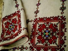 Bulgarian embroidary Folk Embroidery, Learn Embroidery, Embroidery Patterns, Cross Stitch Patterns, Machine Embroidery, Palestinian Embroidery, Folk Fashion, Textiles, Antique Quilts