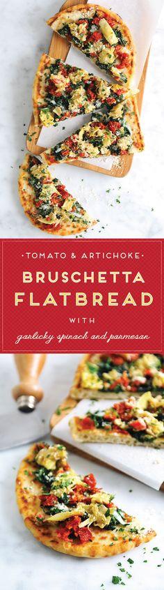 Recipe for Sun-Dried Tomato & Artichoke Bruschetta Flatbread Bruschetta, Diet Recipes, Vegetarian Recipes, Cooking Recipes, Healthy Recipes, Recipies, Flatbread Appetizers, Appetizer Recipes, Flatbread Recipes