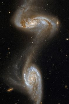 Hubble Space Telescope Galaxy Collision It is predicted that one day the Milky Way and the Andromeda will join together in this cosmic dance - Cosmos, Hubble Space Telescope, Space And Astronomy, Galaxy Space, Galaxy Art, Space Facts, Spiral Galaxy, Hubble Images, Stars