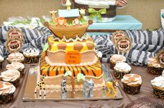 Awesome cake at a Safari Noah's Ark Baby Shower!  See more party ideas at CatchMyParty.com!