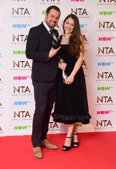 Danny Dyer with Lacey Turner in the press room who won the Best Serial Drama Performance Award for her role as Stacey Slater in Eastenders at the National Television Awards 2017, held at The O2 Arena, London. PRESS ASSOCIATION Photo. Picture date: 25th January, 2017. See PA Story SHOWBIZ NTAs. Photo credit should read: Ian West/PA Wire via @AOL_Lifestyle