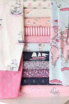 I love this fabric!!!! Custom Crib Bedding - Sarah Jane Out to Sea - Deep Sea Jewel - Navy Blue, Aqua and Pink. $238.00, via Etsy.