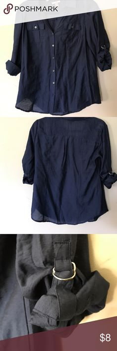 Dressbarn Roz&Ali Navy Blue Rayon Blouse - Small Navy blue rayon blouse. Details include silver metal buttons & you can leave the sleeves rolled down or roll them up and expose them the cute silver hooks for a more casual style! I purchased this shirt at Dressbarn this spring and have only worn it once. I am cleaning out my closet in preparation for a move as we are downsizing!! My loss is your gain! Dress Barn Tops Blouses