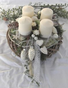 ** Noble advent wreath white in a shabby look ** Elaborately crafted advent wreath consisting of two wreaths. A gray limestone willow wreath serves as a base for the Advent wreath. Christmas Advent Wreath, Christmas Candles, Christmas Centerpieces, Christmas Crafts, Christmas Decorations, Xmas, Dyi Flowers, Shabby Look, Willow Wreath