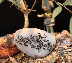 Hand painted om symbol stone Buddhist art by EmmysHeartsnCrafts