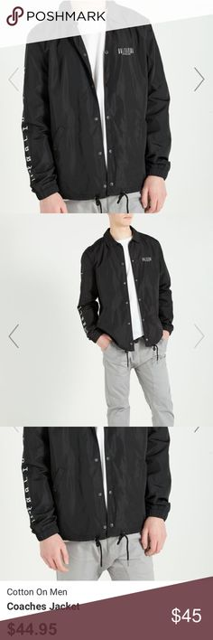 Cotton On Men's Jacket Cotton On Men's Coaches Jacket  Color: Black size Medium Originally $44.95 +tax   *bought it for my boyfriend, he wore it once but didn't like it. Can't return it, I just want my money back from it. It comes with the price tag on it too*  Will post actual photo tomorrow afternoon when there's sunlight Cotton On Jackets & Coats Lightweight & Shirt Jackets