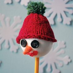 Unforgettable Snowman Pencil Puppet:  The most charming snowman craft around! | FaveCrafts.com