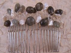 Grey Labradorite and White Pearl Hair Comb