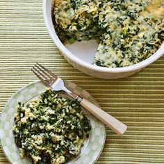 Recipe for Spinach and Feta Casserole with Brown Rice and Parmesan [from Kalyn's Kitchen] for next potluck