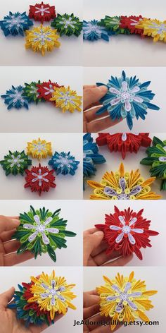 Snowflakes Yellow Red Green Blue Christmas Tree Decoration Winter Ornaments Gift Toppers Fillers Office Corporate Paper Quilling Quilled Art