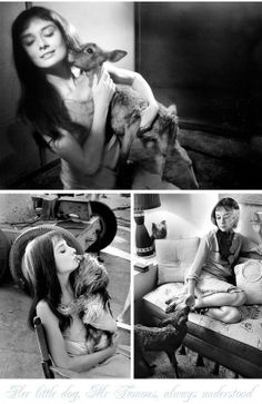 Audrey with Pippins the dear and Mr. Famous her dog