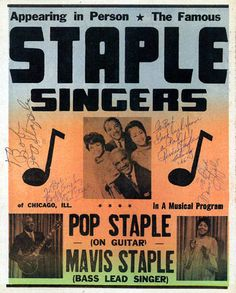 Classic 1960s Staple Singers Concert Poster — autographed by Pops, Mavis, Cleotha & Yvonne
