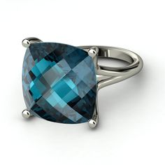 Checkerboard Cushion Pavilion London Blue Topaz Sterling Silver Ring  | Naked Cushion Ring | Gemvara
