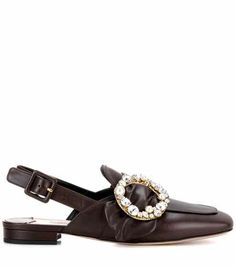 Embellished slingback leather loafers | Miu Miu