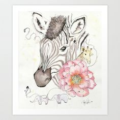 Zebra Art Print by Ang+Art - $18.00