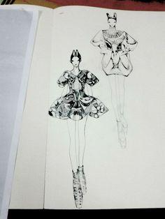 Fashion Sketchbook - fashion sketches; fashion design illustrations // Vikki Yau