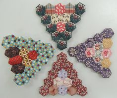 Pomegranate and Chintz blog. Class Show and Tell. Hexagons for Mrs Billings Coverlet made by Sue 1.