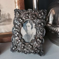 Small Silver Photo Frame with Thistle Sculpted Pattern Oval Picture Frame Oval Picture Frames, Sell On Etsy, Sculpting, Cool Designs, Great Gifts, Things To Come, Gray, Antiques, Pattern