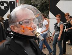 No Clue: Man Wearing Sealed Fishbowl w/ Fish On Head
