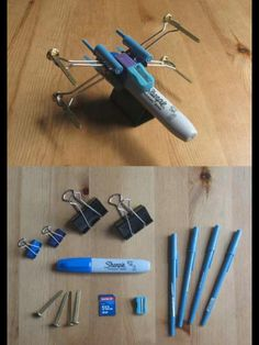 That is SICK! I'm going to try this! X-Wing made of pens, flash drive and household items!