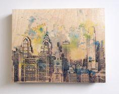 Wood Panel Philadelphia Skyline Art Print from by idillard on Etsy