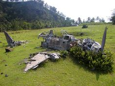 It doesn't look like much today. But this abandoned airfield on the west side of Pagan Island in the Marianas housed a 2,150-strong garrison of the Japanese Imperial Navy during World War Two and is home to several wartime wrecks.