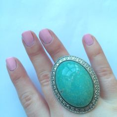 Turquoise Statement Ring Is it spring yet?! ☀️ Worn once...perfect condition! Stretchy band...fits all sizes! Jewelry Rings