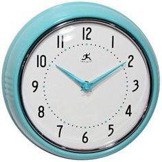 "Happy Retro Turquoise Metal 9 1/2"" Round Wall Clock"