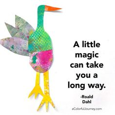 Crazy Collage Critters made with Gel Prints - Video by Carolyn Dube Roald Dahl quote A little magic can take you a long way. #gelprinting #collage