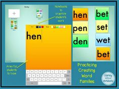 Using Sticky app to create word families!