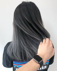 # Grey Hair Greige Balayage Flawless Makeup balayage greige Grey hair - Cheveux Greige Balayage Flawless Makeup balayage greige Grey hair The Effective Pictures We O - Black And Grey Hair, Hair Color For Black Hair, Cool Hair Color, Hair Color Ash Grey, Grey Ombre Hair Short, Grey Dyed Hair, Balayage Hair Grey, Grey Hair Fringe, Dark Grey Hair Charcoal