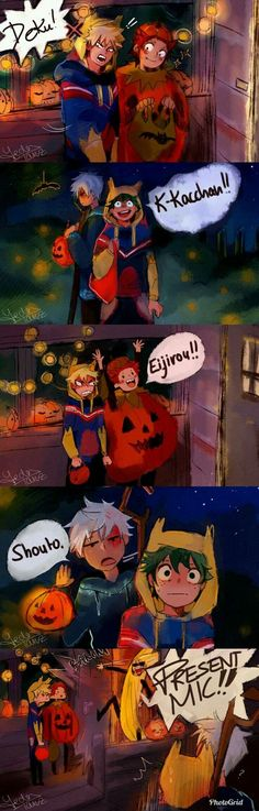 Deku and Kacchan have the same costume, Kirishima is a pumpkin and Todoroki's Jack Frost Otaku Anime, Anime Meme, M Anime, Funny Anime Pics, Fanarts Anime, Haikyuu Anime, Anime Guys, Boku No Hero Academia Funny, My Hero Academia Shouto