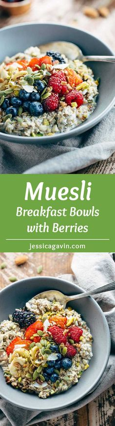 Berry Muesli Breakfast Bowls - Energize your day with these wholesome soaked grains topped with fresh fruit and nuts for a satisfying meal.| jessicagavin.com