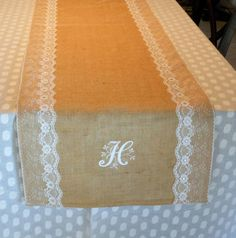 Burlap Table Runner Burlap Lace Monogram and by ThimblefulThreads