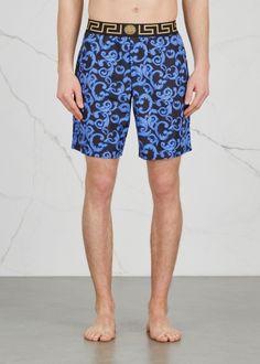 ec8f182d715ca Versace Blue baroque-print swim shorts - Harvey Nichols Versace Blue, Harvey  Nichols,