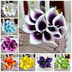 2017 Vintage Artificial Flowers Mini Purple In White Calla Lily Bouquets For Bridal Wedding Bouquet Decoration Fake Flower From Desfloral, $6.19 | Dhgate.Com