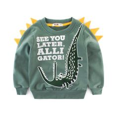 Dinosaur Print Sweatshirt Boy Fall Children Kids Outerwear Hoodies Sweatshirts for Baby Clothes Moleton Meninas Cute Sweatshirts, Printed Sweatshirts, Animal Print Hoodies, Moda Animal, Thick Hoodies, Cheap Hoodies, Galaxy Sweatshirt, Crocodile, Sam Sam