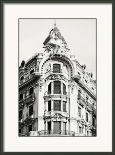 black and white granada ornate building in spain framed print by angela bonilla downtown cityscapes