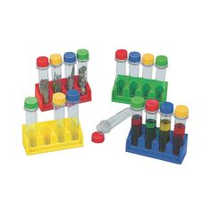 """Super+Science+Test+Tubes+with+Trays+-+OrientalTrading.com Super Science Test Tubes with Trays  IN-59/1025 16.99 1 Set(s)Super Science Test Tubes With Trays. Encourage their love of science! Includes 16 plastic test tubes with twist-on caps and 4 trays. Each tray holds 4 test tubes. (20 pcs. per unit) Test tubes, 5""""; tray, 5 3/4"""" x 2 1/8"""" x 2 1/8""""."""