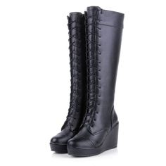 Womens-Synthetic-Leather-Wedge-High-Heel-Lace-Up-Knee-Boots-Shoes-US-Size-b347
