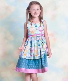Jelly the Pug Aqua Hot Air Balloon Tenley Dress - Infant | zulily