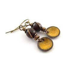 Rustic Orange Poppy Earrings  Enameled Earrings by CinLynnBoutique