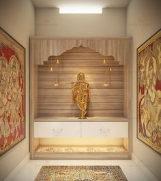 Tips to design pooja rooms in small spaces Temple Room, Home Temple, Temple Design For Home, Mandir Design, Pooja Room Door Design, Room Interior, Interior Design, Room Partition Designs, Puja Room