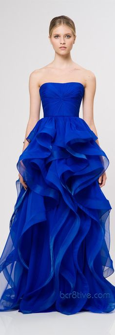 Reem Acra Ready To Wear Resort 2013.  Beautiful color and bodice but the skirt is too much for me.  Still think its a beautiful dress.