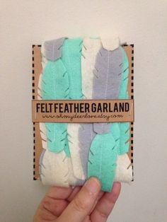 Custom Felt Feather Garland by ohmydeerlove on Etsy, $12.00