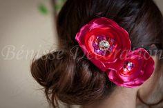 red handmade flower~wedding~  https://www.etsy.com/listing/99010623/100-handmade-fabric-women-hair-piece