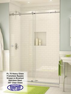 White Subway Tile Shower With Double Glass Doors