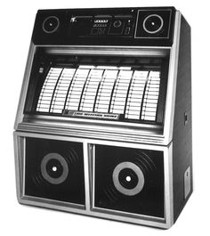 """1983, Rowe-AMI's Sapphire 7: A """"black beauty with contrasting electric blue and chrome trim..."""" [Jukebox Collector]"""